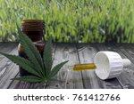 cannabis oil extract in bottle... | Shutterstock . vector #761412766