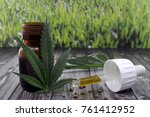 cannabis oil extract in jar to... | Shutterstock . vector #761412952