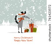 christmas card  santa dog with... | Shutterstock .eps vector #761423572