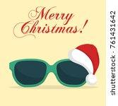 sunglasses with santa klaus hat.... | Shutterstock .eps vector #761431642