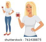 young attractive blonde tanned... | Shutterstock . vector #761438875