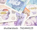 Stock photo close up macro study of various british sterling paper and polymer bank notes 761444125