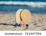 beach tennis  beach paddle ball ...   Shutterstock . vector #761447596