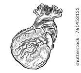 human heart in anatomy. hand... | Shutterstock . vector #761453122