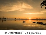 sunset over hanoi's ho tay ... | Shutterstock . vector #761467888