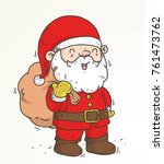 santa and the sack doodle color ... | Shutterstock .eps vector #761473762