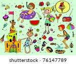Kids on Summer Vacations (vector set) - stock vector