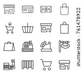thin line icon set   shop  card ... | Shutterstock .eps vector #761478922
