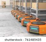 orange robot carriers parking... | Shutterstock . vector #761485435