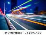 light trails through the bridge ... | Shutterstock . vector #761491492