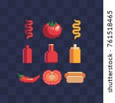 pixel art style icons set.... | Shutterstock .eps vector #761518465