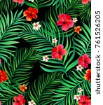 seamless hand drawn tropical... | Shutterstock .eps vector #761526205