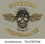 wings and skull graphic design... | Shutterstock .eps vector #761530246