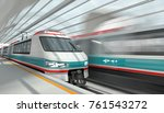 high speed trains at a station... | Shutterstock . vector #761543272