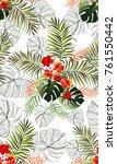 seamless hand drawn tropical...   Shutterstock .eps vector #761550442
