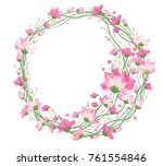 vector pink  floral circle... | Shutterstock .eps vector #761554846