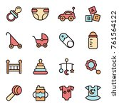 baby icons minimalistic flat... | Shutterstock .eps vector #761564122