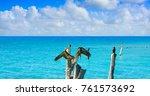 isla mujeres island caribbean... | Shutterstock . vector #761573692