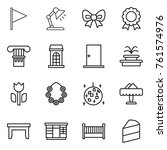 thin line icon set   flag ... | Shutterstock .eps vector #761574976