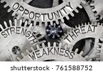 Small photo of Macro photo of tooth wheel mechanism with imprinted STRENGTH, WEAKNESS, OPPORTUNITY, THREAT words imprinted on metal surface