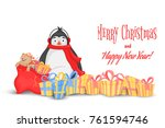 different gifts with bows and... | Shutterstock .eps vector #761594746