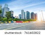 dense modern buildings and... | Shutterstock . vector #761602822