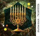 golden menorah on a mosaic...
