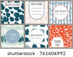 6 modern abstract cards with... | Shutterstock .eps vector #761606992