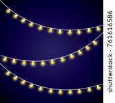yellow christmas garland | Shutterstock .eps vector #761616586