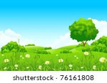 green landscape with  trees and ... | Shutterstock .eps vector #76161808