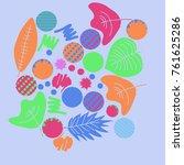 autumn theme  leaves  scribbles ... | Shutterstock .eps vector #761625286