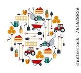 set farm tools flat stock...   Shutterstock . vector #761628826