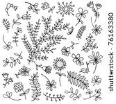 sketch of floral elements for... | Shutterstock .eps vector #76163380
