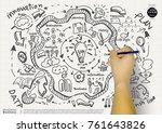 hands write plan sketch... | Shutterstock . vector #761643826