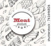 vector background with meat... | Shutterstock .eps vector #761646826