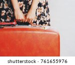 woman hand holding vintage... | Shutterstock . vector #761655976