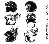 set of the racer helmets.... | Shutterstock .eps vector #761662222