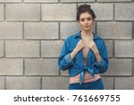 fashion woman in denim standing ... | Shutterstock . vector #761669755