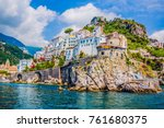 the small haven of amalfi... | Shutterstock . vector #761680375