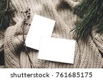 christmas card mockup. empty... | Shutterstock . vector #761685175