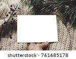 Christmas Card Mockup. Hand...