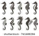collection of seahorse on... | Shutterstock .eps vector #761688286
