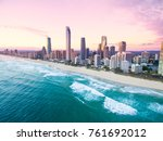 an aerial view of surfers... | Shutterstock . vector #761692012