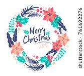 christmas wreath.  merry... | Shutterstock .eps vector #761692276