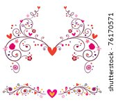 heart flowers elements ornament - stock vector