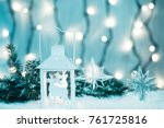 christmas candle lantern and... | Shutterstock . vector #761725816