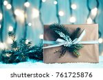 christmas background with... | Shutterstock . vector #761725876