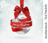 merry christmas  earth icon... | Shutterstock .eps vector #761746345