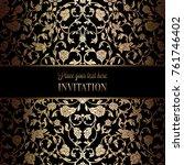 vintage baroque wedding... | Shutterstock .eps vector #761746402