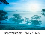 sunrise at the pine hill with...   Shutterstock . vector #761771602